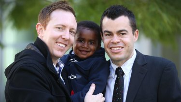 Jason Haines with partner David Momcilovic and their son Oliver are in Canberra to attend Bill Shorten's introduction of a private members bill on marriage equality.