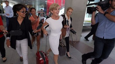"""Complained"" after an airport check: Julie Bishop, pictured at Canberra Airport earlier this year, was singled out to be scanned on her way through Melbourne Airport."