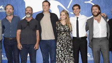 Mel Gibson with the cast of <i>Hacksaw Ridge,</i> from left, Hugo Weaving, Gibson, Vince Vaughn, Teresa Palmer, Andrew Garfield and Luke Bracey.