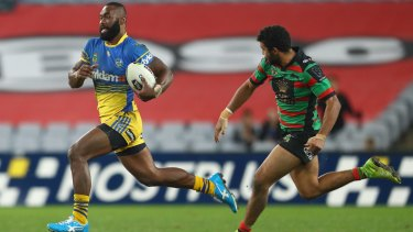 Semi Radradra of the Eels breaks away to score a 90m try against the South Sydney Rabbitohs on Friday night.