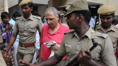 Disgraced art dealer Subhash Chandra Kapoor being brought to the Ariyalur court in 2014.