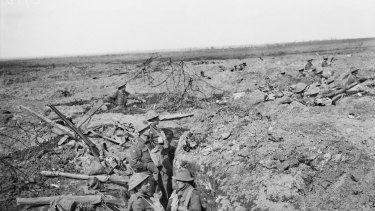 Australian troops occupy trenches and shell holes won from the enemy at Polygon Wood in the Ypres sector.