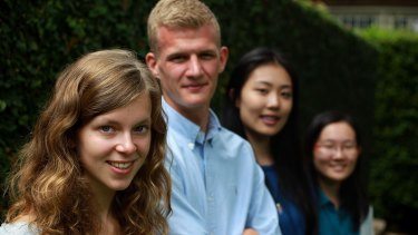 Top IB students from Redlands school. Olivia Thompson, Philip Rennemo, Jiaxin Yu and Tamae Ishikawa