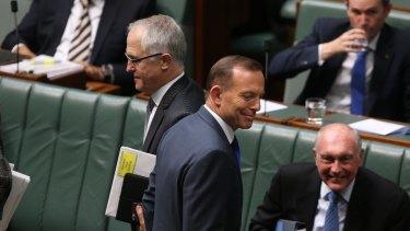 Leadership rivals Prime Minister Tony Abbott and Communications Minister Malcolm Turnbull.
