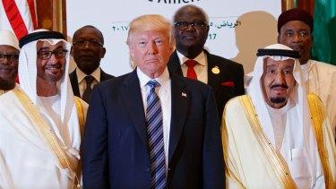 US President Donald Trump with King Salman and others at the Arab Islamic American Summit in Riyadh, Saudi Arabia.