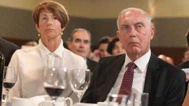 Margie Abbott, with Deputy Prime Minister Warren Truss, at her husband's National Press Club address on Monday.