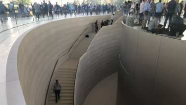 The interior of the Steve Jobs Theater.