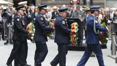 Representatives of branches of Australia's emergency services paid tribute to war veterans at the service at the cenotaph.