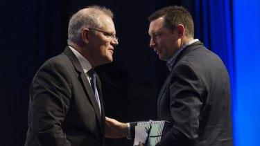 Treasurer Scott Morrison with the Australian Christian Lobby's Lyle Shelton.