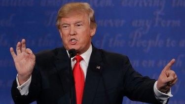 Donald Trump gesticulates during the third presidential debate.