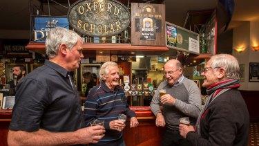 Last drinks: Oxford Scholar regulars John Page, Bob Hopkins, John Ryan and Raymond Evans.