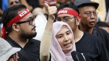 Nurul Izzah Anwar, daughter of Anwar Ibrahim, speaks at a rally in Kuala Lumpur in March.