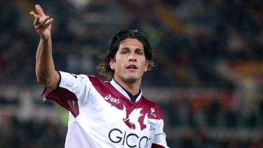 Glory days: Marco Borriello celebrates scoring for Reggina against Roma in a Serie A match in 2005.