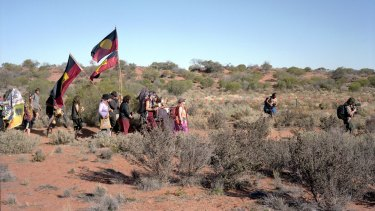 Walking to the mine, Lizards Revenge Protest, Roxby Downs, SA, 2012.