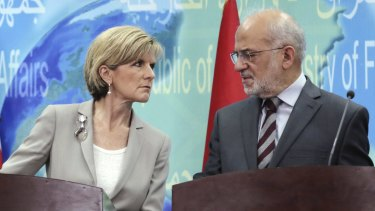Australian Foreign Minister Julie Bishop and her Iraqi counterpart Ibrahim al-Jaafari hold a news conference in Baghdad in October.