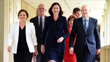 Queensland Deputy Premier Jackie Trad, Queensland Premier Annastacia Palaszczuk and Treasurer Curtis Pitt at Parliament House.