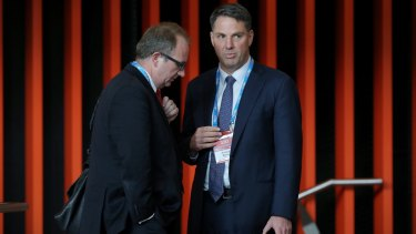 Shadow immigration minister Richard Marles with right wing factional operative David Feeney the ALP National Conference in Melbourne on Friday.