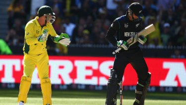 Hefty send-off: Brad Haddin celebrates Martin Guptill's wicket.