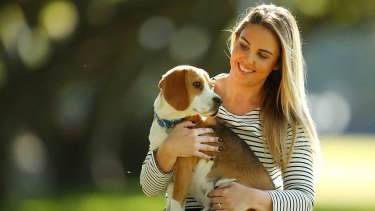 Dog owner and pet-insurance client Lucy Bland with her dog Hudson.