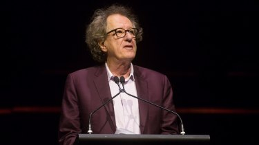 Geoffrey Rush spoke at the memorial for John Clarke at Melbourne Town Hall.