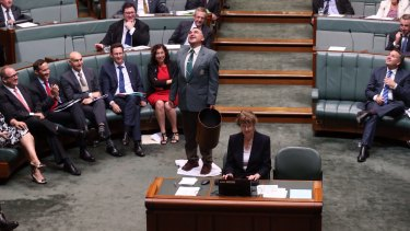 An attendant mops up a leak from the roof during question time.