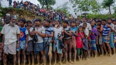 More than 400,000 people have fled Myanmar's Rakhine State, across the border to Bangladesh.