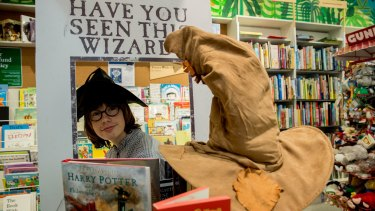 Harry Potter fan Ewen Cusworth ahead of the 20th anniversary of the Harry Potter franchise at Readings Kids in Carlton.