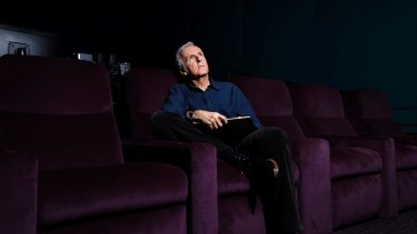 "James Cameron in the screening room in his LA studios, where he views the ""dailies"" from the Avatar sequel."