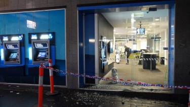 The driver rammed his car into several bank branches on Swanston Street in Melbourne.