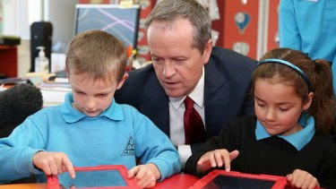 Opposition Leader Bill Shorten during his visit to Hughes Primary School in Canberra  earlier this year.