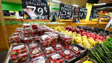 Stawberries selling for 79 cents in the Melbourne suburb of Brunswick on Monday.