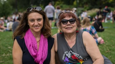Christine (left) and Betsy at the Women's March on Melbourne