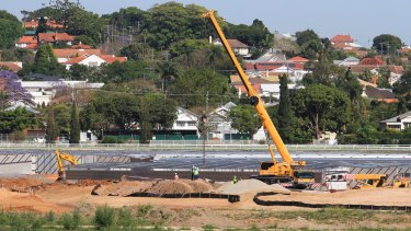 Two men were crushed to death by a falling concrete slab at Eagle Farm Racecourse in October.