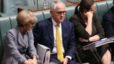Prime Minister Malcolm Turnbull and his frontbench during question time on Tuesday.