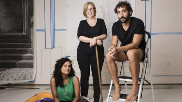 Artists Keg de Souza, Catherine O'Donnell and Tarik Ahlip at Parramatta Artists Studios.