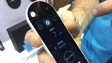 Sevenhugs' touchscreen Smart Remote, on show at CES 2017 in Las Vegas.