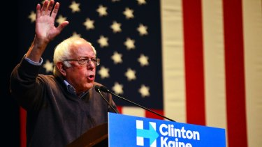 Senator Bernie Sanders drums up support for Democratic presidential candidate Hillary Clinton at Keene State College in New Hampshire.