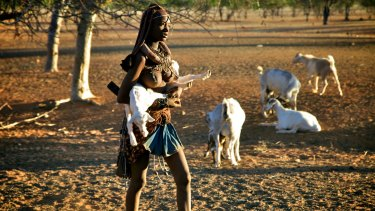 A young woman of the Himba tribe in Namibia.