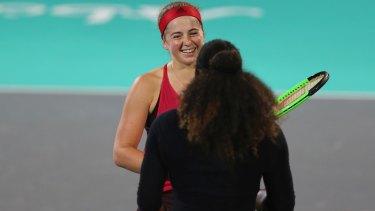 Williams congratulates Jelena Ostapenko on the result.