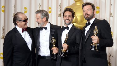 From left: Jack Nicholson with producers George Clooney and Grant Heslov and actor-producer-director Ben Affleck, winners of the 2013 Best Picture award for Argo.