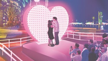 Artist's impression of this year's interactive I Love You installation - fun for families, romantics and  Instagrammers.