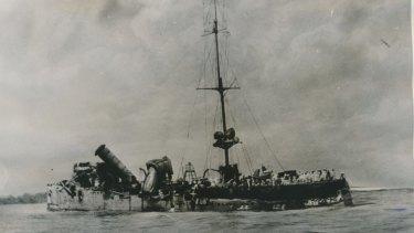 A photo Bean took of wrecked German raider Emden after her encounter with HMAS Sydney near Cocos Island.