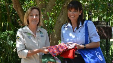 Cynthia Thompson (left), Australia Zoo Wildlife Warriors Director of Development with Kerry Shortall from the Unitywater Admin team.