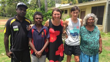 Jordan Bourke (second from left) on Melville Island with his father, Andrew (far left), grandma Josephine (far right), host mother Barbora and her son Jakob.