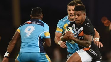 Fijian flyer: Wests Tigers winger Kevin Naiqama.