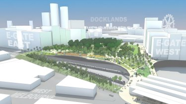 A vision for the site created by Western Connection. North Melbourne railway station is on the bottom right.