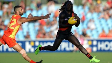 Essendon's Anthony McDonald-Tipungwuti takes a mark.