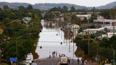 Flooded streets in Lismore over the weekend.