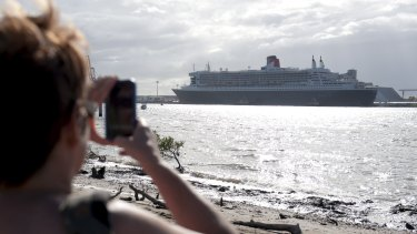 The Queen Mary 2 had to dock at Fisherman Islands' container yards when it came to Brisbane in 2012.
