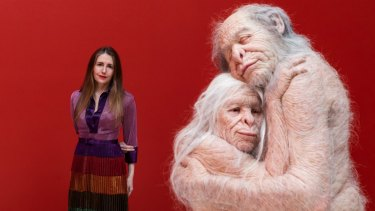 Patricia Piccinini with her new work, Sanctuary, at TarraWarra Museum of Art. ''To see this connection between two older creatures, for me, is really beautiful.''